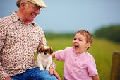 pic of grandpa  - grandpa and grandson playing with little puppy summer outdoors - JPG