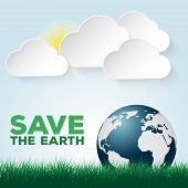 picture of save earth  - Save our Earth blue and green poster template - JPG