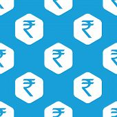 stock photo of indian currency  - Blue Indian rupee symbol in white hexagon - JPG