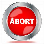 picture of abort  - A large red abort button over a white background - JPG