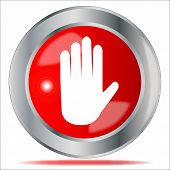 picture of no entry  - A large red no entry hand symbol button over a white background - JPG