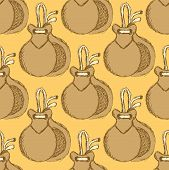 picture of castanets  - Sketch spanish castanet in vintage style vector seamless pattern - JPG