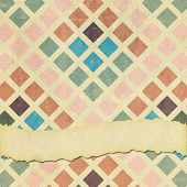 pic of squares  - A square tile format faded ripped and worn background graphic design with retro squares pattern and room for your text - JPG