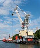 stock photo of floating  - Mobile floating port crane in Gdansk Poland - JPG