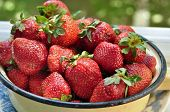stock photo of strawberry  - A bowl of strawberries - JPG