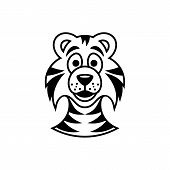 picture of cute tiger  - Cute black vector tiger cartoon face icon isolated - JPG