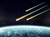 stock photo of meteorite  - View of a planet from space during meteorite impact - JPG