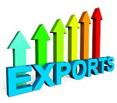 stock photo of export  - Exports Increasing Meaning Business Graph And Financial - JPG