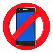 picture of bans  - Phones Banned Representing Forbidden Disallow And Hazard - JPG