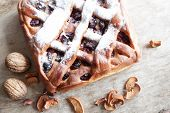 pic of cherry pie  - Homemade cherry pie on  old wooden table - JPG