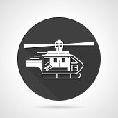 picture of helicopters  - Black flat round vector icon with white contour helicopter on gray background - JPG