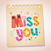 pic of miss you  - Miss you note paper cartoon message illustration - JPG