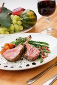 stock photo of lamb chops  - Herb crusted lamb chops  - JPG