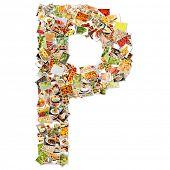 stock photo of letter p  - Letter P Uppercase Font Shape Alphabet Collage - JPG