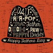 pic of happy day  - Happy Fathers Day hand drawn typography hat illustration greeting card vector - JPG