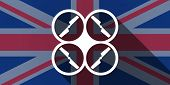 stock photo of drone  - Illustration of an UK flag icon with a drone - JPG