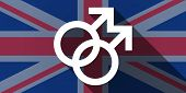 foto of gay flag  - Illustration of an UK flag icon with a gay sign - JPG