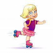 picture of roller-skating  - Little girl rides on roller skates - JPG