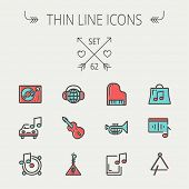 pic of trumpet  - Music and entertainment thin line icon set for web and mobile - JPG