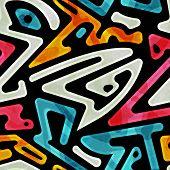 stock photo of funky  - funky geometric seamless pattern   - JPG