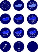 picture of windy weather  - weather forecast icon buttons color vector illustration - JPG