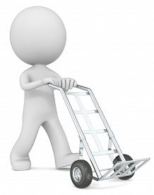 pic of hand-barrow  - The dude 3D character with empty Hand Truck - JPG