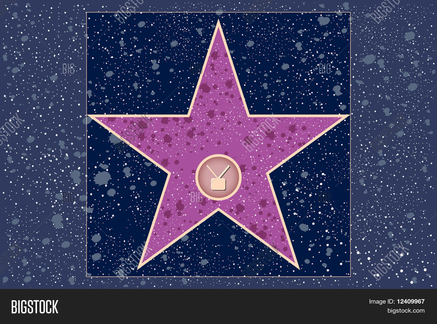 hollywood walk of fame television blank star stock photo