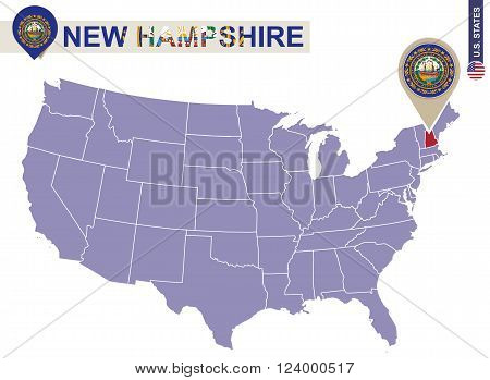 New Hampshire State On Usa Map. New Hampshire Flag And Map.