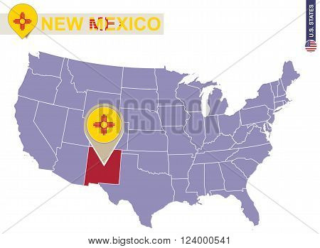 New Mexico State On Usa Map. New Mexico Flag And Map.