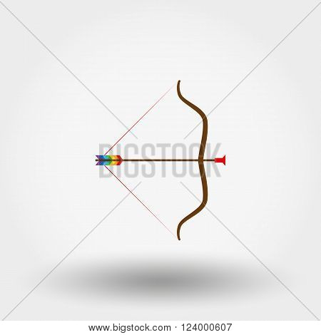 Bow and arrow toy icon for web and mobile application. Vector illustration on a white background. Flat design style.