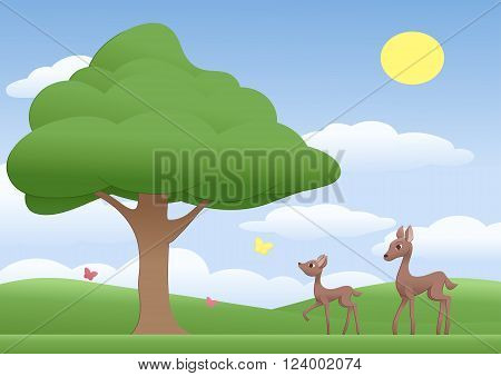 Illustration of the mother deer and fawn on a sunny meadow with tree and butterflies.
