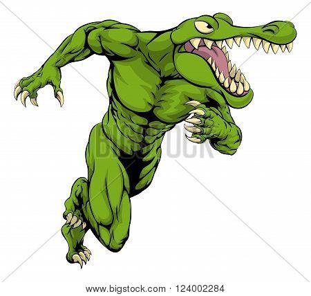 Crocodile Or Alligator  Mascot Running