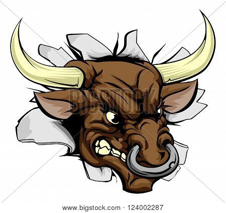 Bull Charging Wall