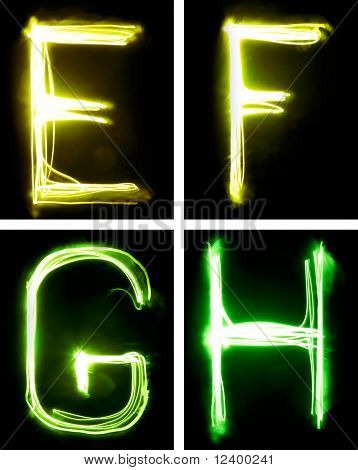 letters painted with light