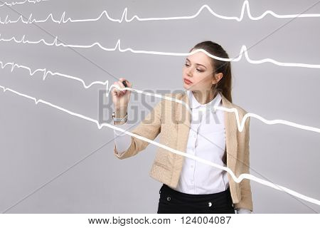 doctor woman and cardiogram lines