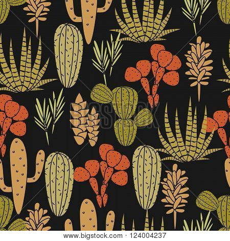 Succulents cacti plant vector seamless pattern. Botanical black, orange and green khaki desert flora fabric print. Home garden cartoon cactuses for wallpaper, curtain, tablecloth.