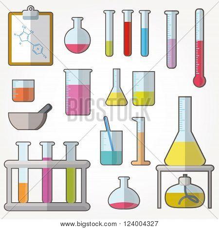 Chemical test tubes icons illustration vector set
