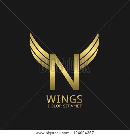 Golden N letter logo template with golden wings