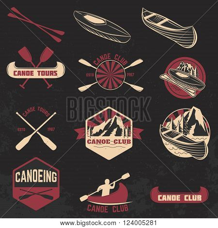 Set of canoe club labels badges and design elements. Canoe sport. Canoe icon. Vector design elements.