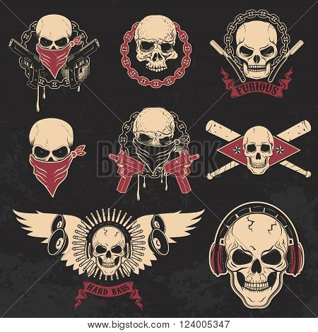 Set of skulls emblems. T-shirt print templates. Dj skull biker skull skull with blades. Design templates and elements.