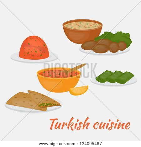 Middle East Food. Common main and side dishes,  dolma, kisir, ezogilin, gozleme and kofte. Turkish lentil salad, cutlet, soup, bread and stuffed grape leaves. Traditional food of Turkish cuisine.