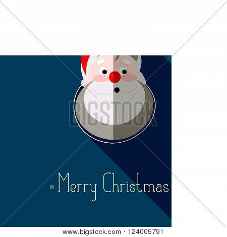 Merry Christmas background with santa claus and place for text. modern flat design Vector illustration