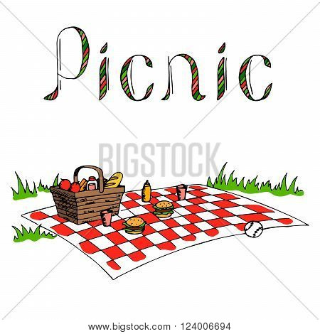 Picnic graphic art red green color illustration vector