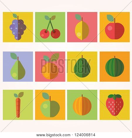 Fruits and Vegetables Icons symbols