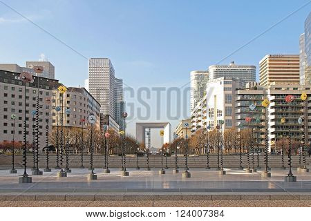 PARIS FRANCE - JANUARY 05: Central Esplanade at La Defense in Paris on JANUARY 05 2010. Iconic Grande Arche and Skyscrapers at Business District in Paris France.