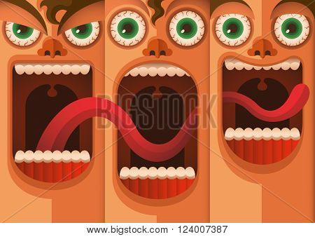 Facial expressions. Vector illustration.