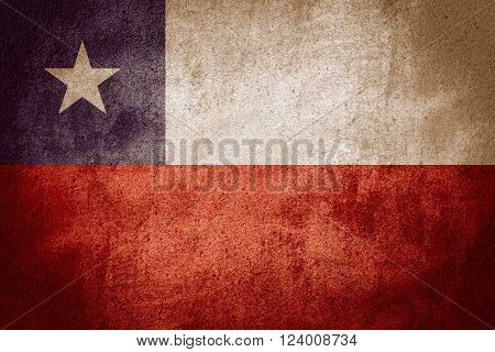 flag of Chile or Chilean banner on rough pattern background