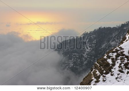 sunrise over the sea in  crimean mountains