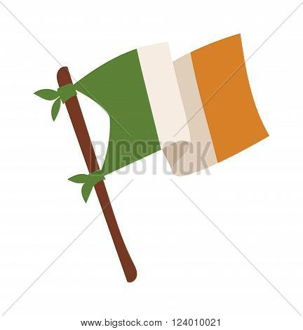 Irish flag vector illustration. Irish flag isolated on background. Irish flag cartoon style. Vector Irish flag. Irish Flag modern style