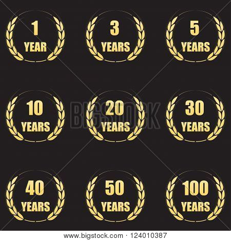 Anniversary laurel wreath icon set. Gold anniversary symbols isolated on black background. 1,3,5,10,20,30,40,50,100 years. Template for congratulation design. Vector illustration.